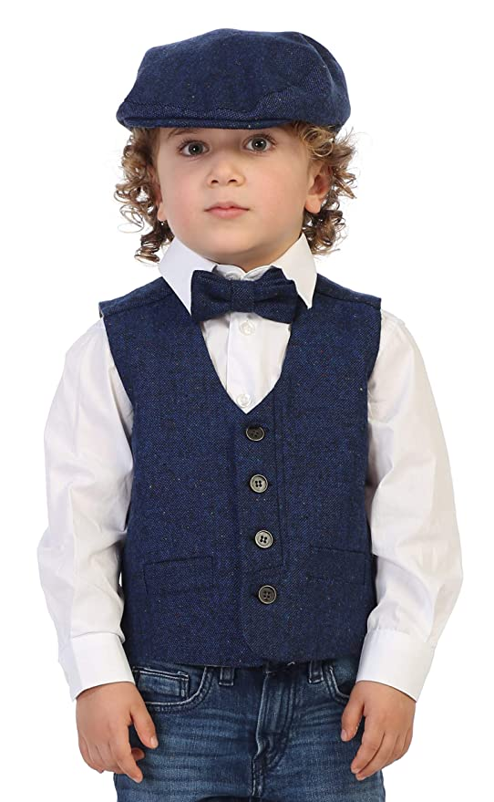 Victorian Kids Costumes & Shoes- Girls, Boys, Baby, Toddler Gioberti Boys 3pc Tweed Vest with Matching Cap and Bow Tie $29.99 AT vintagedancer.com