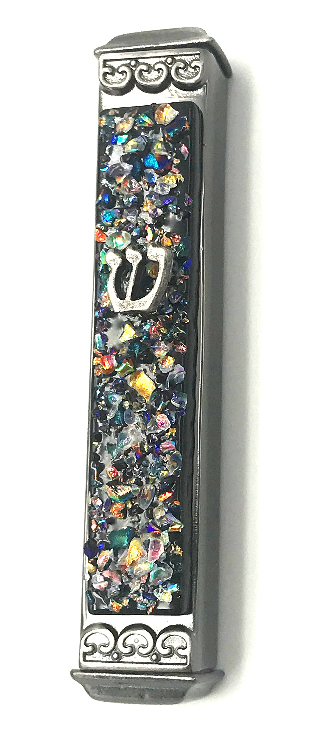 Sparkling Art Glass Mezuzah - 3.5 Inch - Easy Mount - Weatherproof Metal Case - Gift Box and Non-Kosher Scroll Included - Hand Made in USA by Tamara Baskin Art Glass (Black)