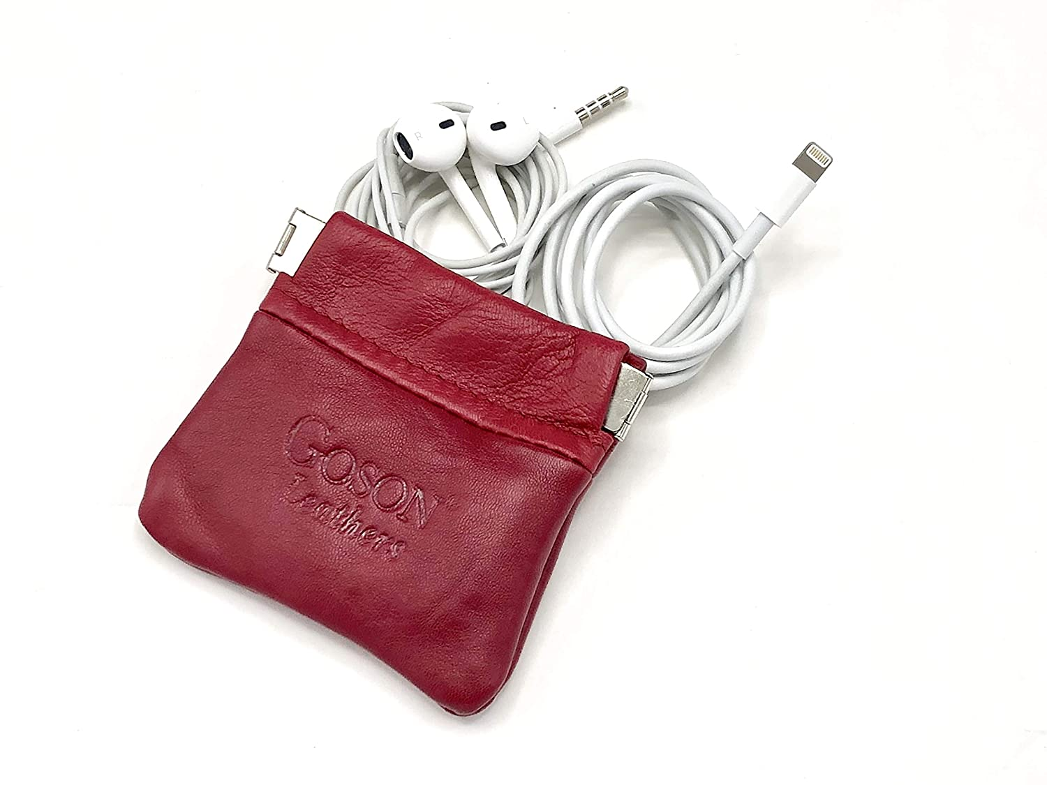 Goson Classic Leather Squeeze Coin Purse change Holder For Men and Women Pouch size 3.50 in X 3.25 in