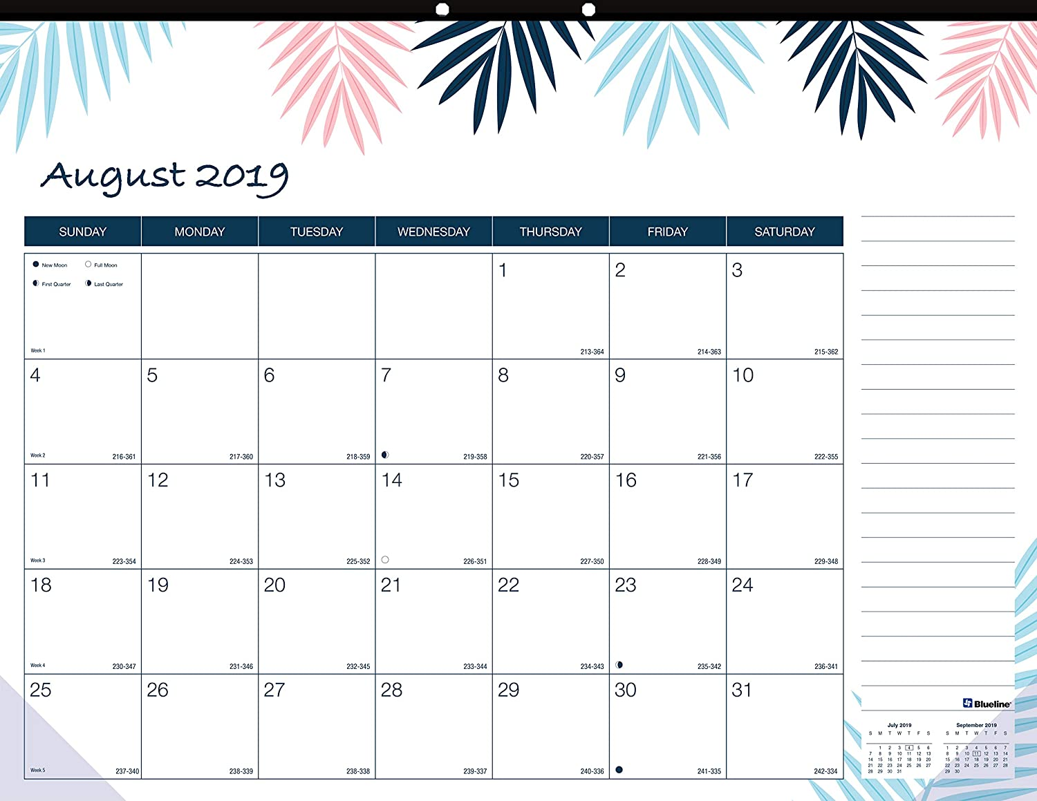 Blueline 2019-2020 Monthly Academic Colorful Desk Pad Calendar with Tropical Design, 22 x 17 Inches (CA194117-20)