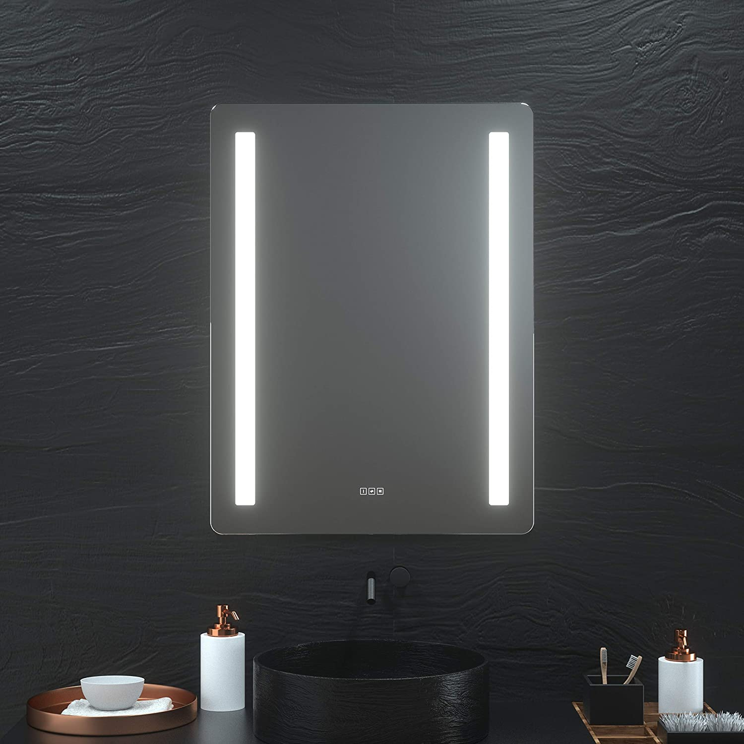 Hauschen 30 X 40 Inch Led Lighted Bathroom Wall Mounted Mirror With Cri 95 Adjustable Color Temperature Anti Fog Separately Control Dimmable Memory Touch Button Ip44 Waterproof Bathroom Accessories Bathroom Mirrors