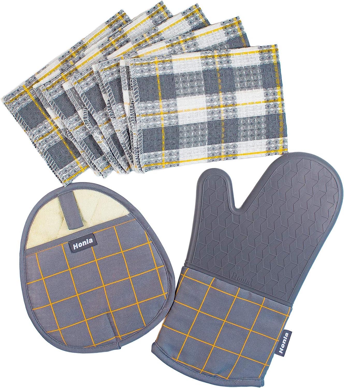 Honla 7 Piece Kitchen Linen Sets,Cotton Windowpane Dish Cloths,Silicone Pot Holder and Oven Mitt Glove,Heat Resistant to 500 Degree F,Machine Washable,Grey