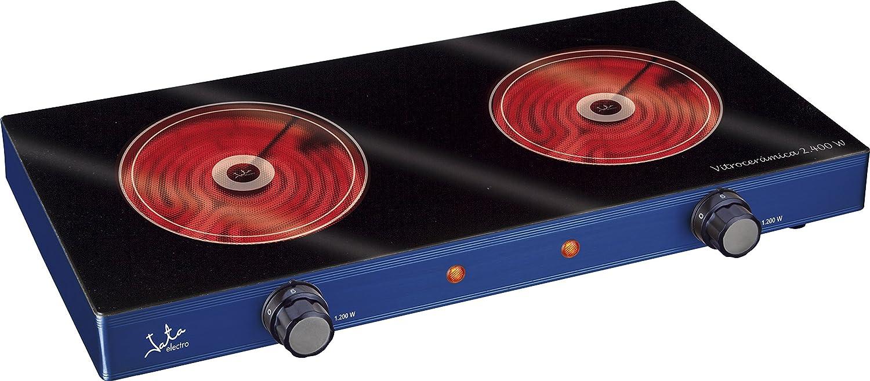 Jata V142 Cocina Eléctrica Vitrocerámica con Dos Placas de 16,5 cm Cuerpo Metálico 2 Termostatos Regulables de Temperatura 2400 W: Amazon.es: Hogar