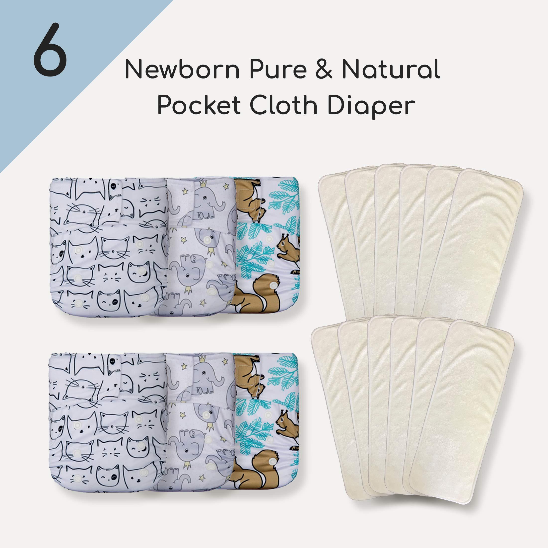 KaWaii Baby 6 Bamboo Charcoal Pocket Cloth Diaper with 12 Bamboo Charcoal Inserts.