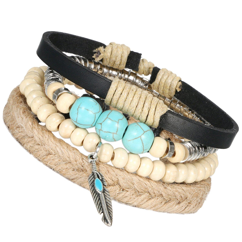 Flongo Men's Women 4PCS Vintage Handmade Leather Wood Surf Wrap Cuff Bracelet, Fit 6-9 inch Wrist
