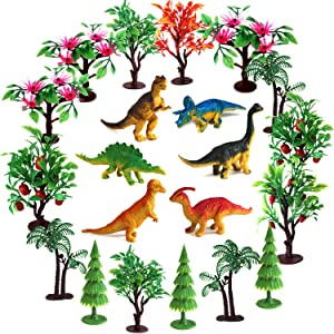 Trees Cake Decorations, OrgMemory Dinosaurs Trees with Bases, 21pcs, Mini Dinosaurs, Dinosaur Toys, Diorama Supplies for Woodland Scenics or Cake Decorations (Dinosaurs and Trees)