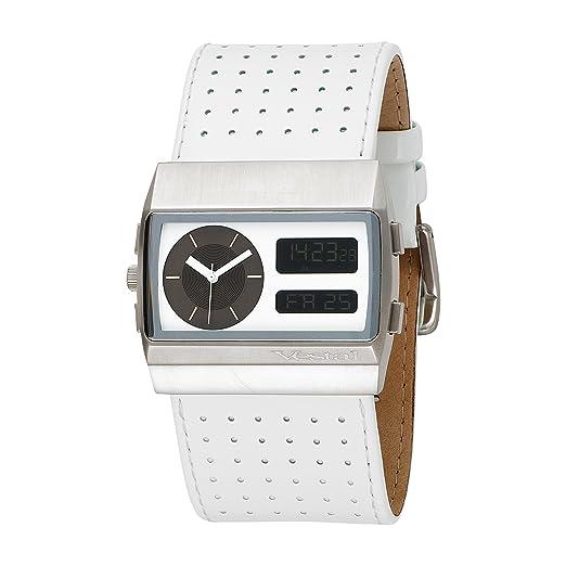 Vestal MCW014 - Reloj analógico - digital de cuarzo para hombre, correa de cuero color blanco: Amazon.es: Relojes