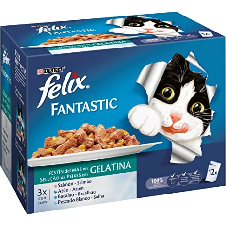 Purina Felix Fantastic Festín Gelatina comida para gatos Selección Surtido de Pescados 6 x [12