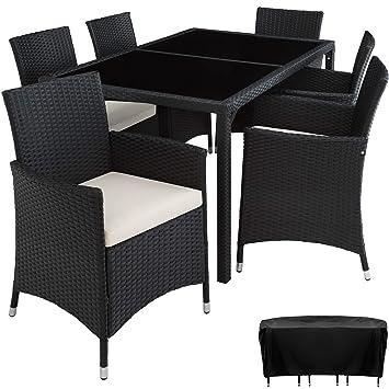 TecTake Conjunto Muebles De Jardín En Ratán Sintético 6+1 | Tornillos De Acero Inoxidable | Funda completa - disponible en diferentes colores - (Negro ...