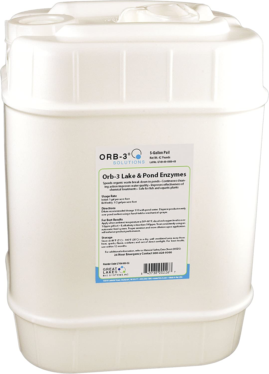 Orb-3 Lake and Pond Enzymes Pail, 5-Gallon