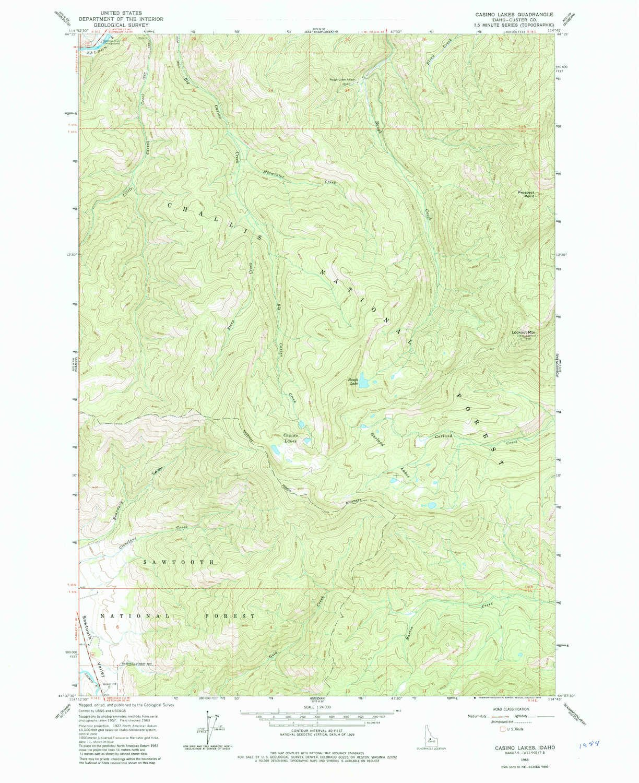 Amazon.com: YellowMaps Casino Lakes ID topo map, 1:24000 scale