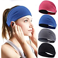 Perkisboby 4 Pack Sport Headband for Women & Men, Stretchy Moisture Wicking Wide Hairband Fabric to Keep Head Dry & Cool…