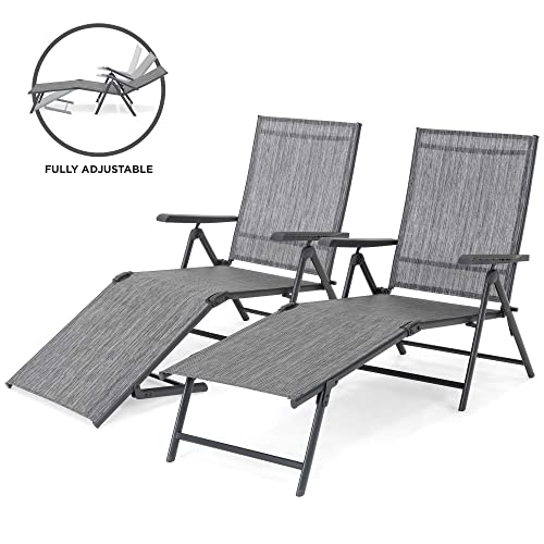 Best Choice Products Set of 2 Outdoor Adjustable Folding Steel Textiline Chaise Reclining Lounge Chairs w 4 Back 2 Leg Positions, Gray