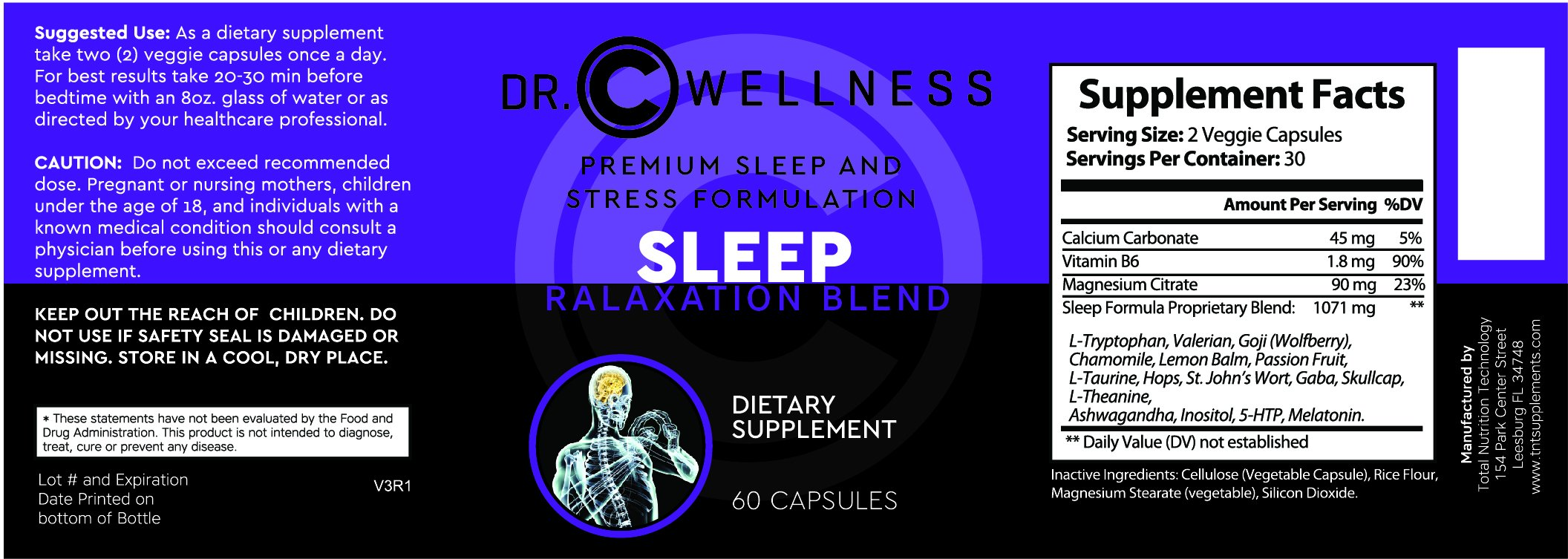 Natural Sleep and Relaxation Blend with Valerian Root, Melatonin, L-Tryptophan, St-John's Wart, Ashwagandha, 5-HTP, Inositol, Chemomile.