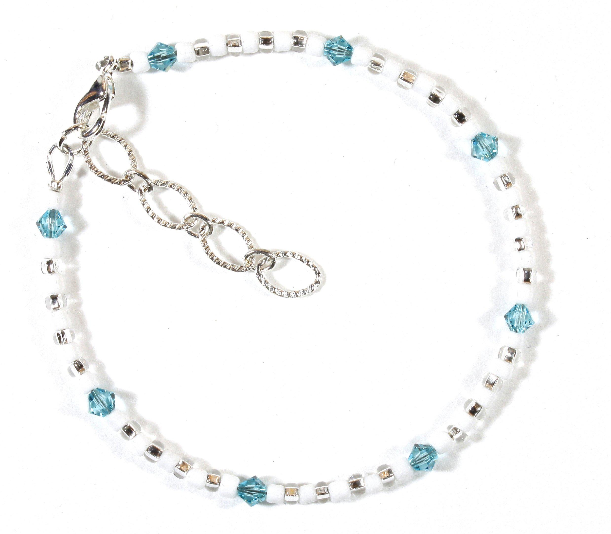 Style-ARThouse ''Take Me To the Caribbean'' Bracelet with Aqua Blue Swarovski Crystals, 7.5 Inches