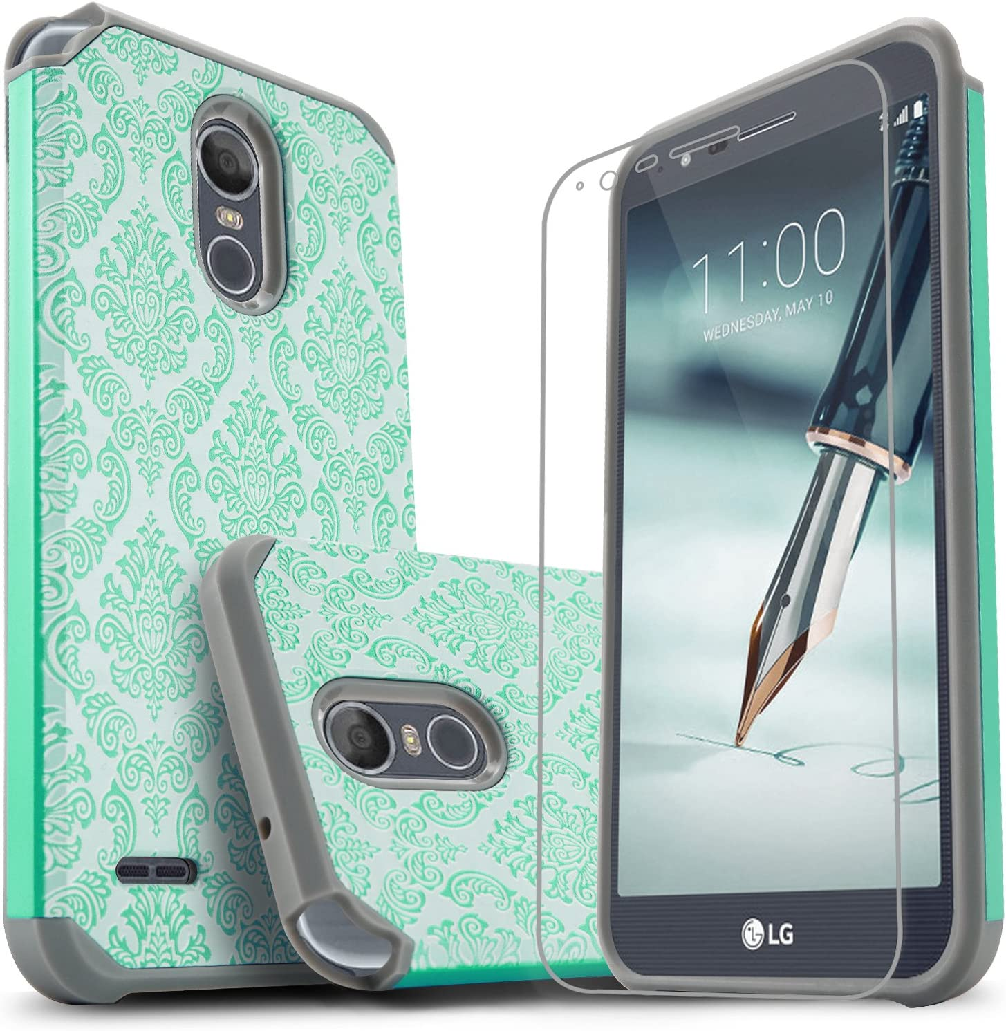 LG Stylo 3 Case, LG Stylo 3 Plus Case, Starshop [Shock Absorption] Dual Layers Impact Advanced Protective Cover with [Premium HD Screen Protector Included] for LG Stylo 3 - Light Blue Lace