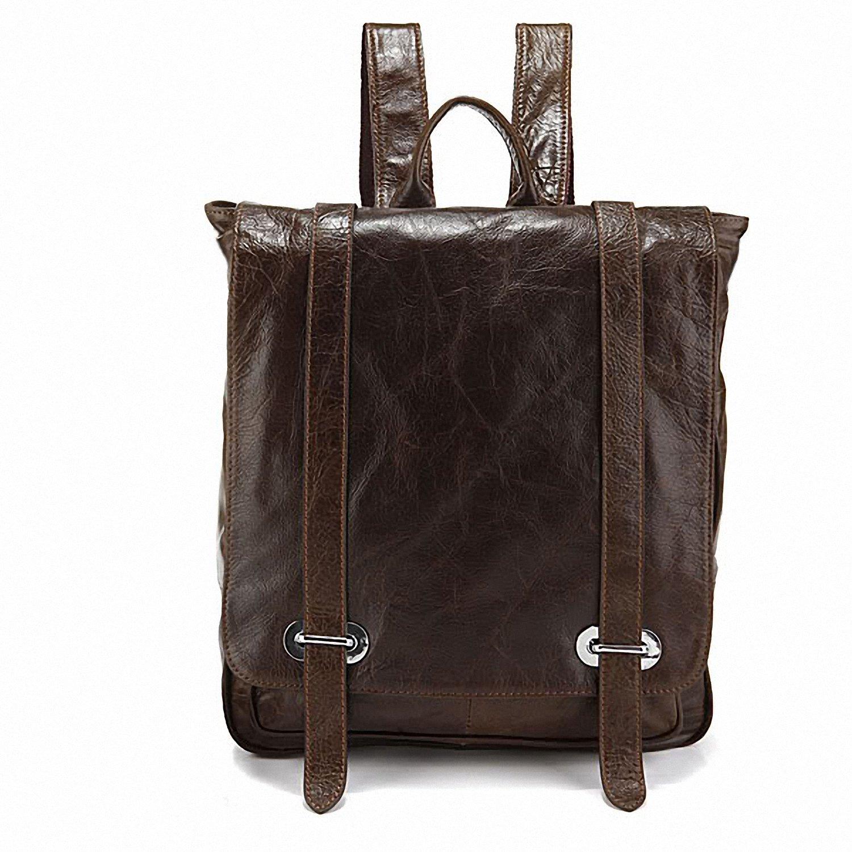 Tom Clovers Genuine Leather Unisex Leisure Handbag Backpack Coffee
