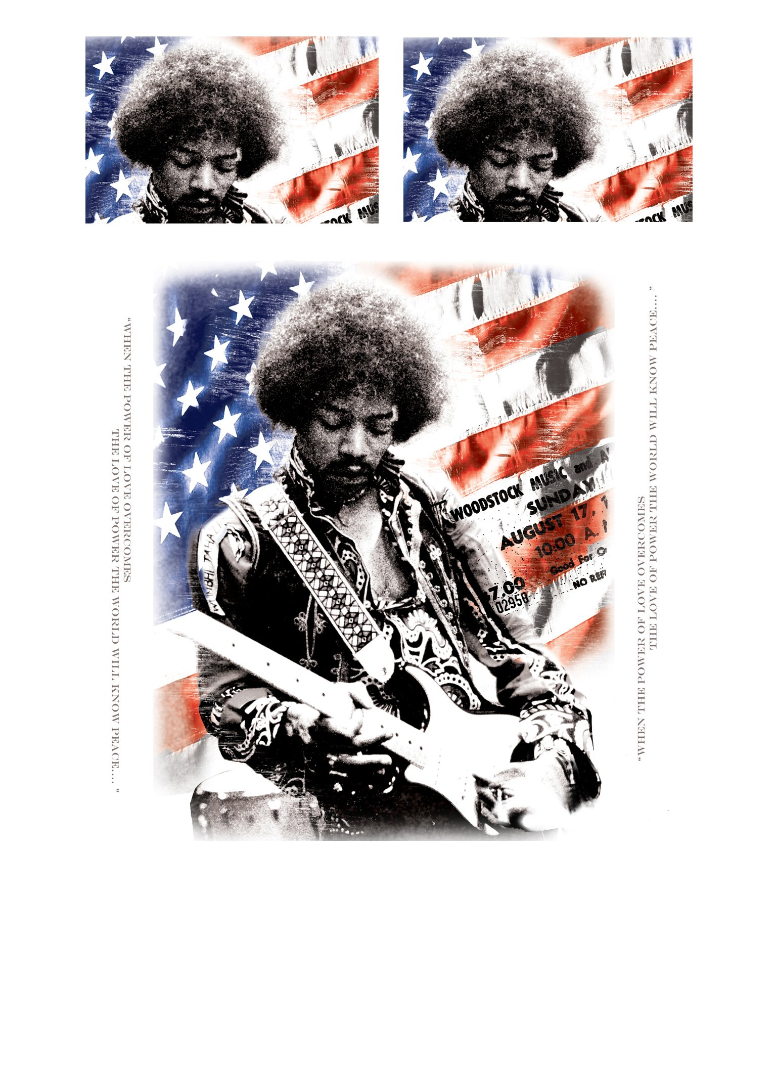 Jimi Hendrix - LOVE POWER - Duvet & Pillowcase Covers Set for Queensize Bed by Wild Star Home (Image #2)