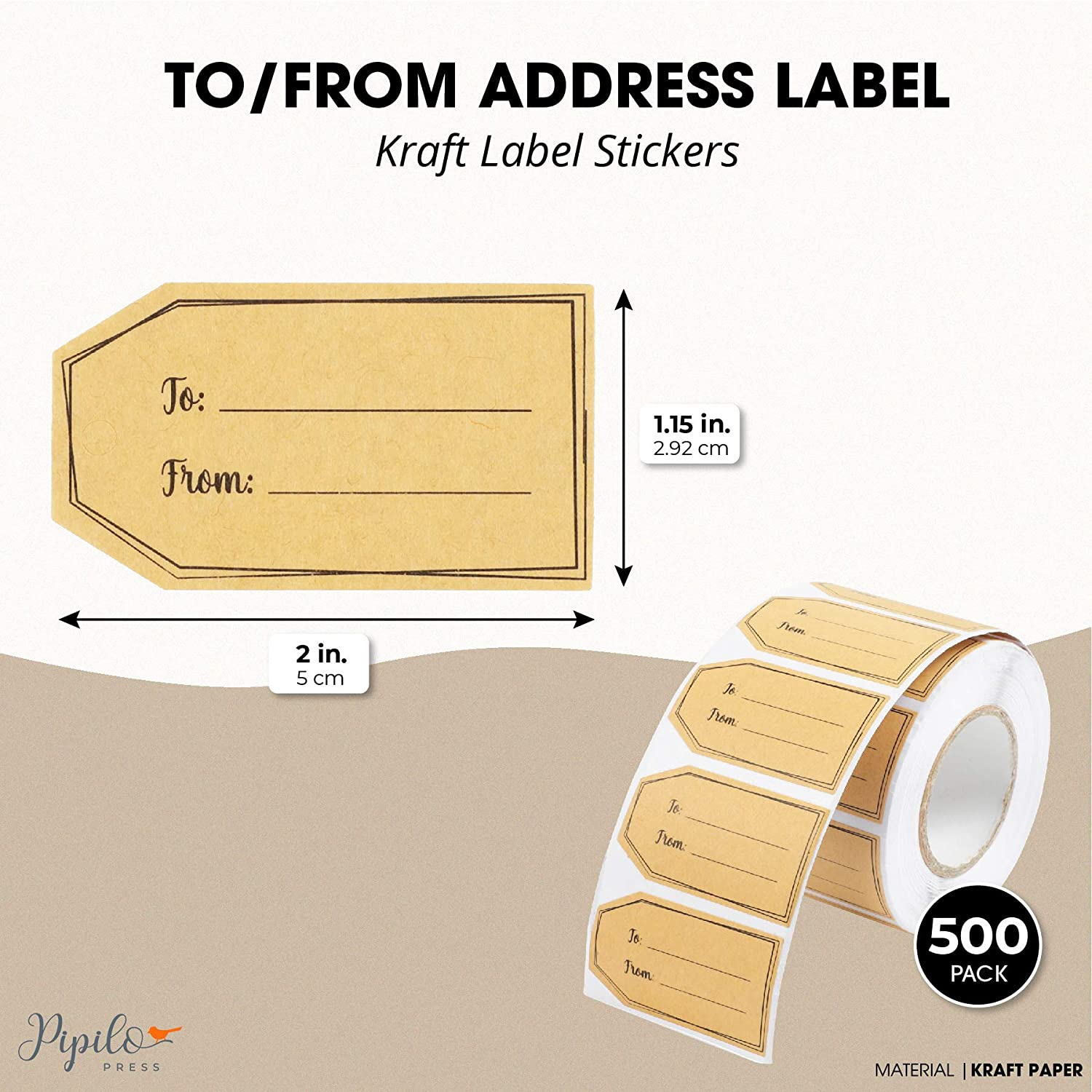Gift Tag Stickers Roll for Christmas 2 x 1.15 in, 500 Pack Brown Kraft Labels