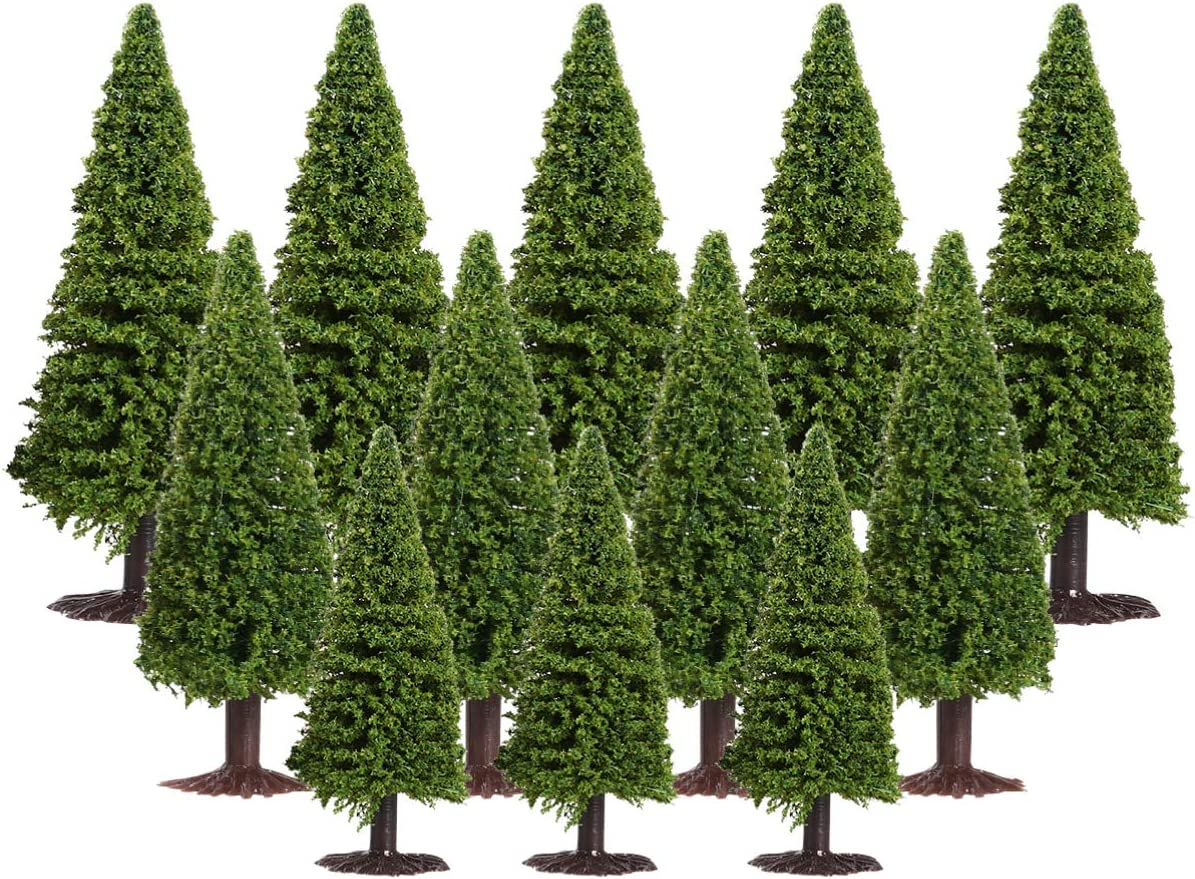 Wakauto Christmas Model Cedar Trees Architecture Trees Miniature, 15pcs Green Scenery Landscape Model Cedar Trees