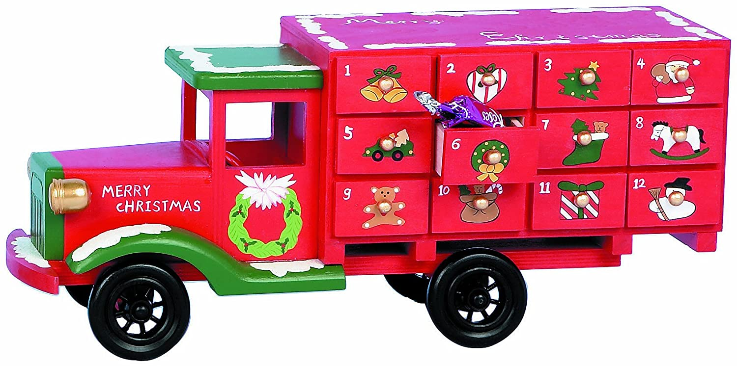 Premier Decoration Wooden Advent Truck, 36 cm Premier Decorations Ltd AC081669