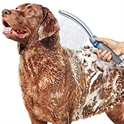 """Waterpik PPR-252 Pet Wand Pro Dog Shower Attachment, 13"""", Blue/Grey System for Fast and Easy Bathing"""