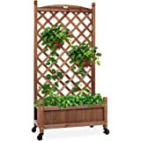 Best Choice Products 48in Wood Planter Box & Diamond Lattice Trellis, Mobile Outdoor Raised Garden Bed for Climbing Plants w/
