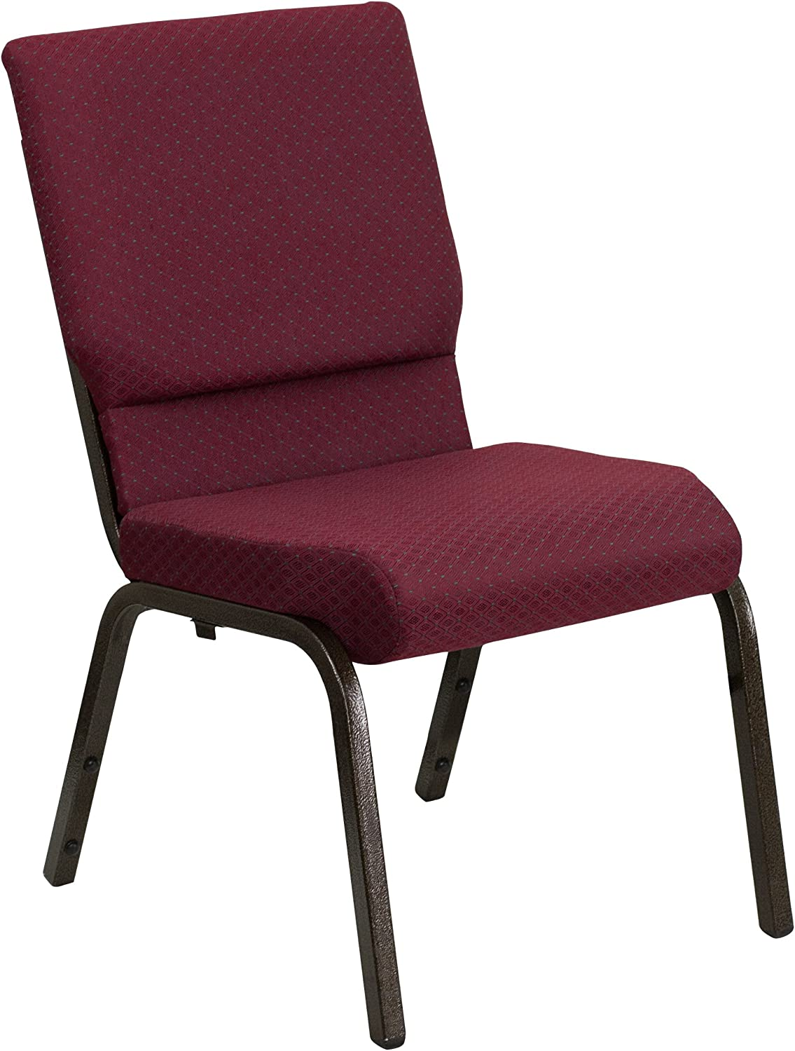 Flash Furniture HERCULES Series 18.5''W Stacking Church Chair in Burgundy Patterned Fabric - Gold Vein Frame