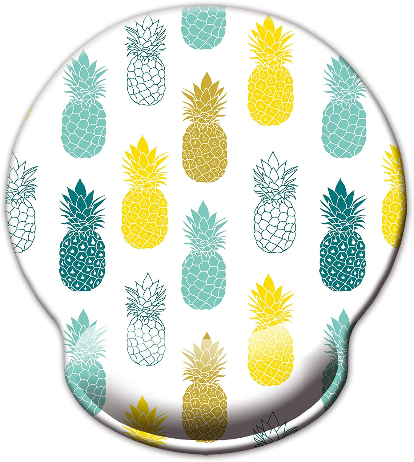 Ergonomic Mouse Pad with Wrist Support,Dooke Cute Wrist Pad with Non-Slip Rubber Base for Computer, Laptop, Home Office Gaming, Working, Easy Typing & Pain Relief Pineapple