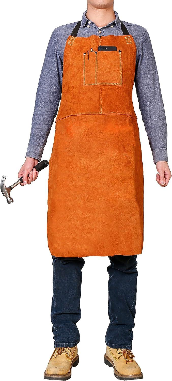 Adjustable Fit M-XXXL Men /& Women 24 X 42 Heat Resistant /& Flame Resistant Bib Apron Flame Retardant Heavy Duty BBQ Apron LEASEEK Leather Welding Work Apron