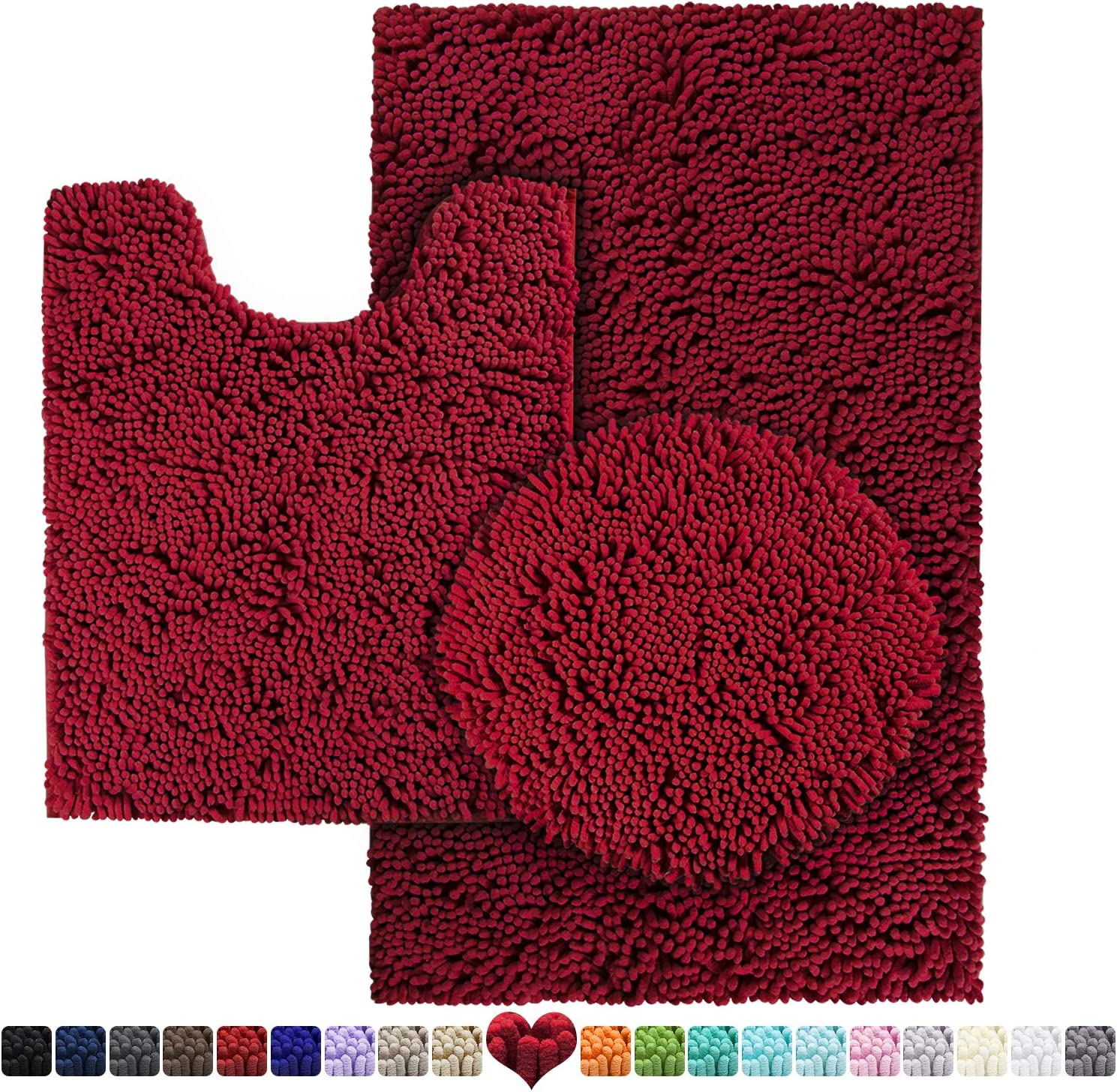 HOMEIDEAS 3 Pieces Bathroom Rugs Set Burgundy, Includes U-Shaped Contour Toilet Mat, Bath Mat and Shaggy Toilet Lid Cover, Machine Washable & Non Slip Bath Rugs for Bathroom, Tub, Shower