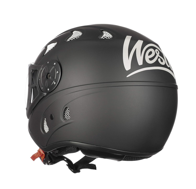 Westt Razor /· Open Face Jet Motorbike Helmet in Matte Black /· Crash Helmets Motorcycle Moped Scooter Vintage Style /· ECE Certified