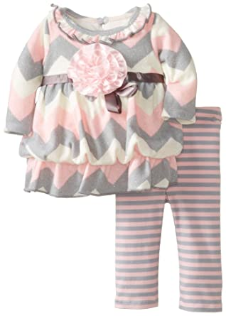 c6c3c99e6abd1 Bonnie Baby Baby Girls' Newborn Chevron Knit Bubble Legging Set, Pink, 3-