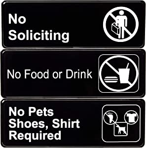 Easy Mounting, Super Durable Warning Signs 3pk. Black Plastic Placards for Doors or Windows. No Soliciting, No Food or Drink and No Pets, Shoes, Shirt for Indoor or Outdoor Use at Homes or Businesses