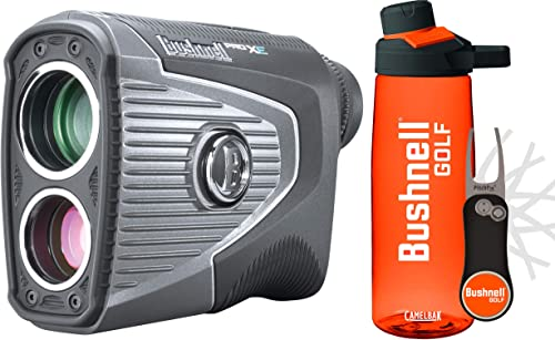 Bushnell Pro XE Golf Laser Rangefinder Premium Bundle Bushnell Premium Water Bottle Pitchfix Divot Tool Slope, PinSeeker with JOLT, BITE 201950