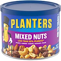 Planters Mixed Nuts (10.3 oz Canister, Pack of 4) - Variety Mixed Nuts with Less Than 50% Peanuts with Peanuts, Almonds…
