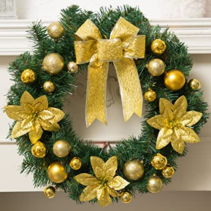 Dolloly Christmas Wreath For Front Door Artificial Garland Wall Decoration Christmas Party Decor 15 7 Gold