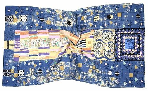Bees Knees Fashion - Bufanda - Azul rosa resumen de impresión de lujo de seda pura bufanda larga