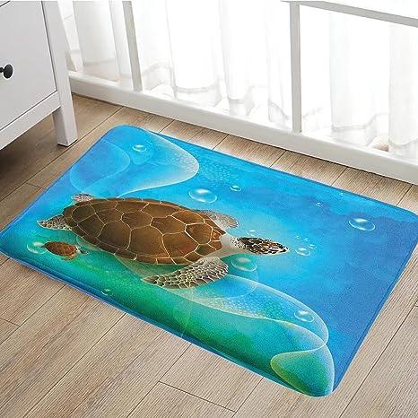 Ocean Bath Mats For Floors Turtle Family Swimming In Ocean Bubbles  Underwater World Cartoon Fun Artwork