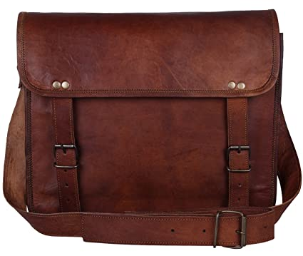 Amazon.com | Leather Vintage Rustic Crossbody Messenger Courier ...