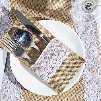 arksu yute encaje utensilios titulares bolsa de cubiertos cuchillos tenedores cubertería bolsa para Vintage Natural boda: Amazon.es: Hogar