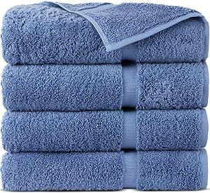 Indulge Linen 100% Quality Cotton Turkish Towel Set (Wedgewood, Bath Towels - Set of 4)