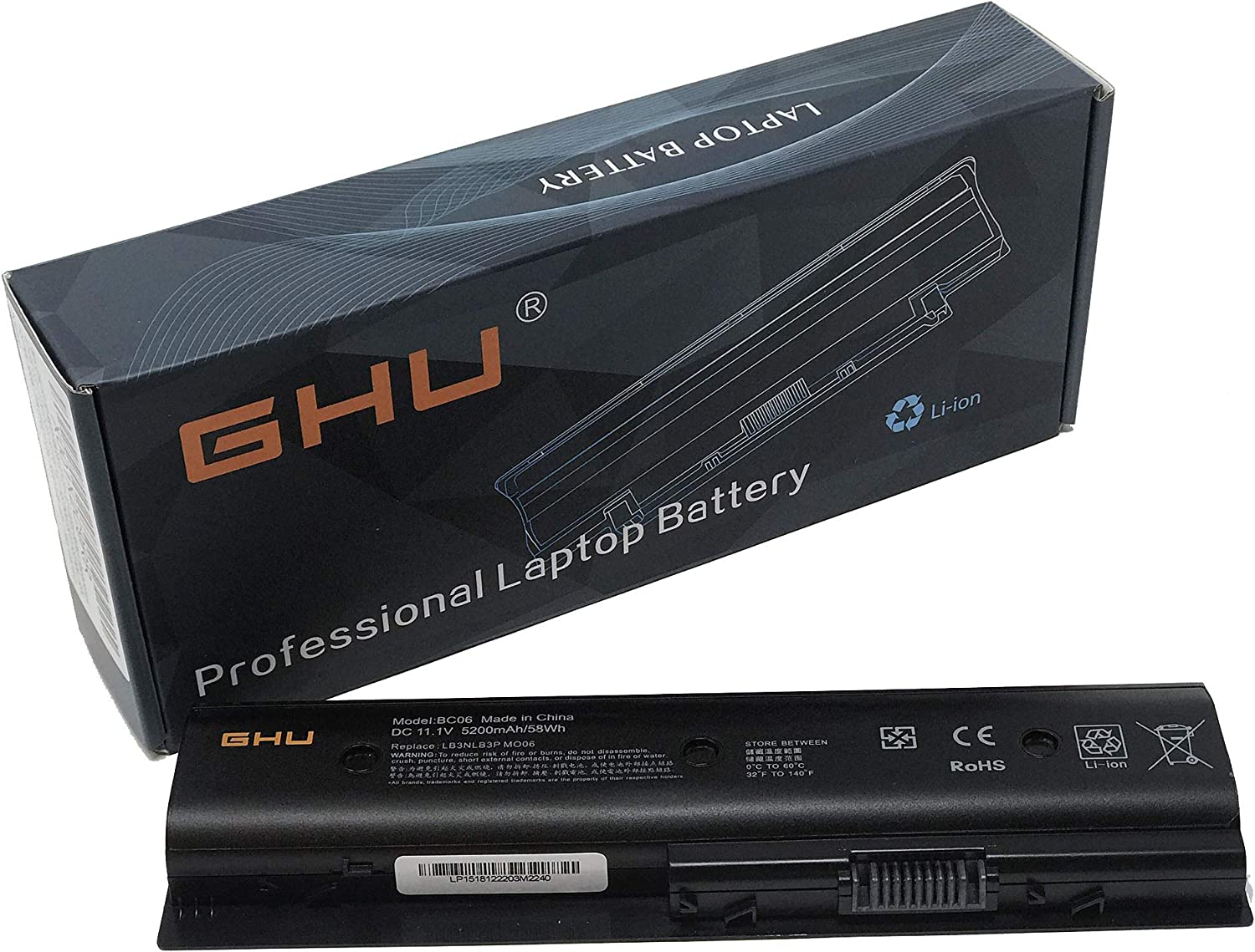 New GHU MO06 Battery Replacement for 671731-001 HSTNN-LB3N HSTNN-LB3P Part # 671567-421 HSTNN-LB3P TPN-P102 MO06 MO09 H2L55AA TPN-W106 11.1v 58 WH Compatible with HP Envy Notebook