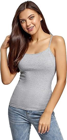 oodji Ultra Mujer Camisetas de Tirantes Finos (Pack de 2), Gris, ES 44 / XL: Amazon.es: Ropa y accesorios