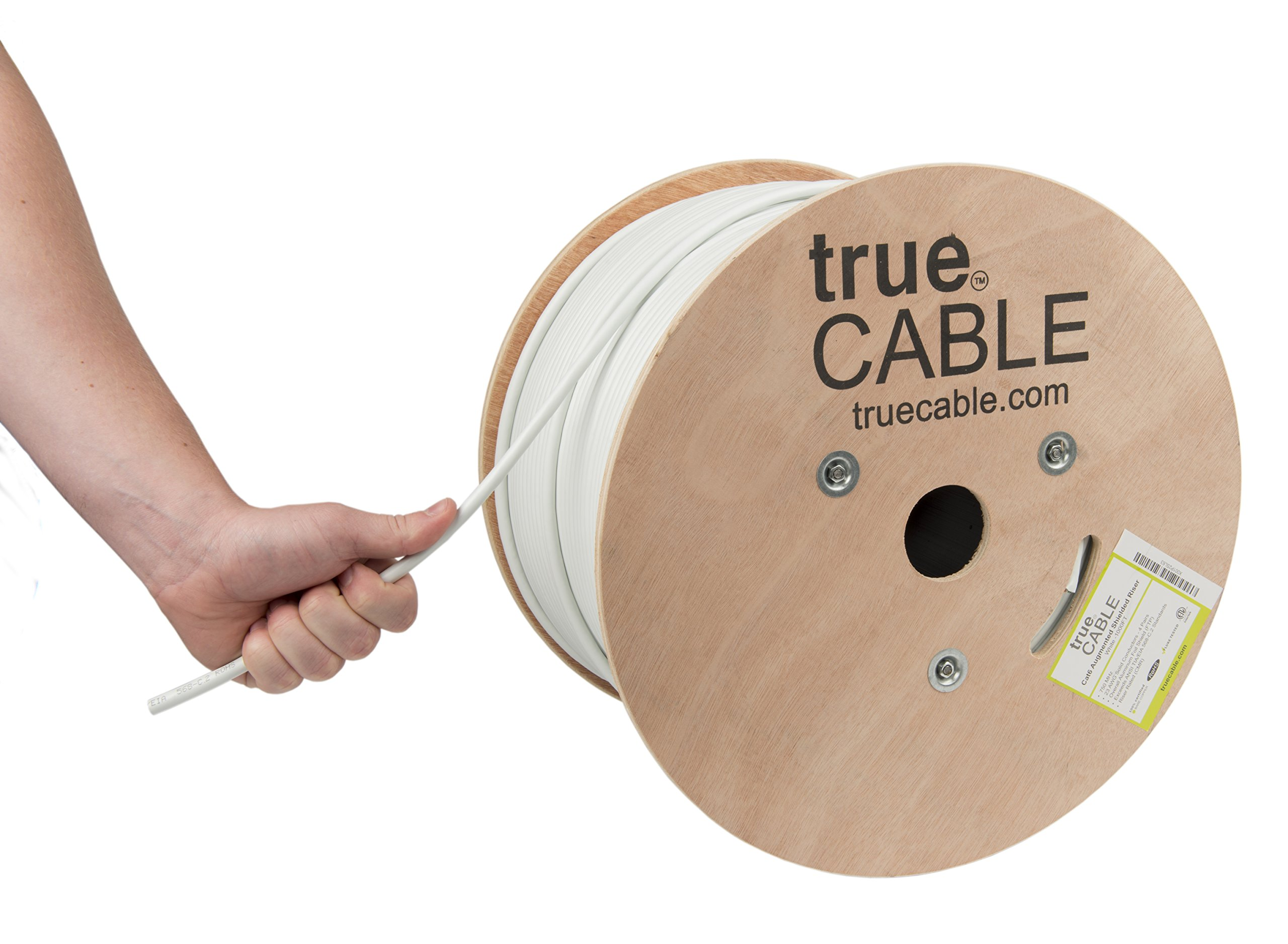 Cat6A Shielded Riser (CMR), 1000ft, White, 23AWG Solid Bare Copper, 750MHz, ETL Listed, Overall Foil Shield (FTP), Bulk Ethernet Cable, trueCABLE