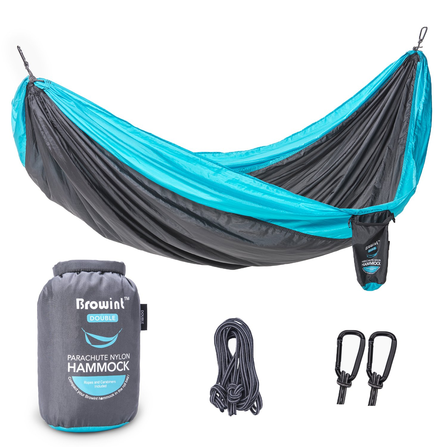BROWINT Double Single Parachute Nylon Camping Hammock, Lightweight Portable Hammock, 220T Nylon Outdoor Hammock for Camping, Backpacking, Travel, Yard. 10 L x 6 8 W 10 L x 5 W
