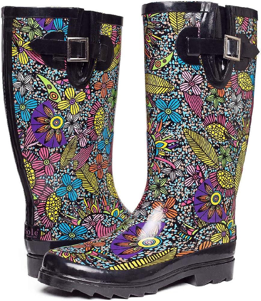 Ladies Mudrocks Rubber Wellington Boots Floral 3//4 Flower Print Wellies UK 4-8