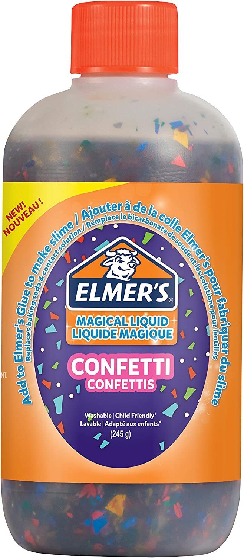 Elmer's Confetti Slime activador | Magic Liquid Glue Slime Activator | Botella de 245 g | Ideal para hacer limo de confeti