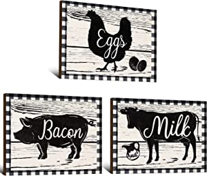 3 Pieces Farmhouse Kitchen Signs Cow Rooster and Pig Decors 7.9 x 5.9 Inch Rustic Wooden Signs Country Wall Decorations for Kitchen Wall Decor and Home Decor