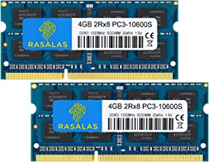 Rasalas 8GB Kit (2X 4GB) PC3-10600 DDR3 1333 MHz SODIMM RAM Upgrade for AMD Intel Laptop, MacBook Pro 13/15/17 inch Early/Late 2011,iMac 21.5-inch Mid/Late 2011,27-inch Mid 2011,Mac Mini 5,1 & 5,2 Mid